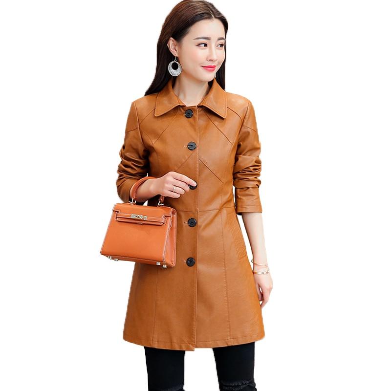 Women Black PU   Leather   Jackets 2018 Spring New Fashion Ladies Elegant Slim Long   Leather   Clothing Female Trench Coat Outerwear