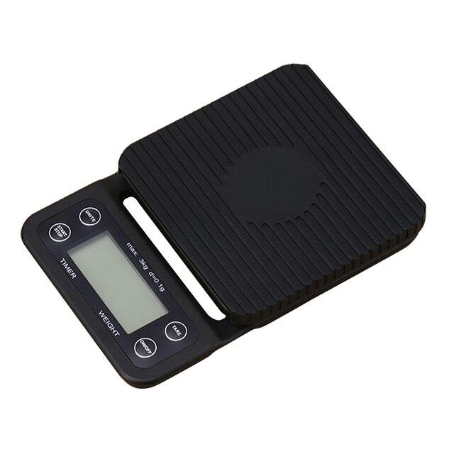 Balance électronique Portable avec minuterie 3kg/0.1g LCD balances de café de cuisine numérique outil de pesage balance de bijoux de précision balance