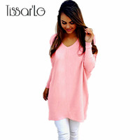 TissarLG Women Autumn Sweaters Solid Fashion V Neck Long Sleeve Pullovers