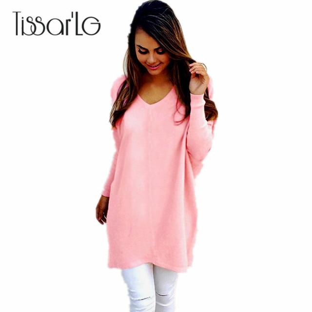 Tissarlg женские осенние свитера модные однотонные v-образным вырезом с длинными рукавами пуловеры