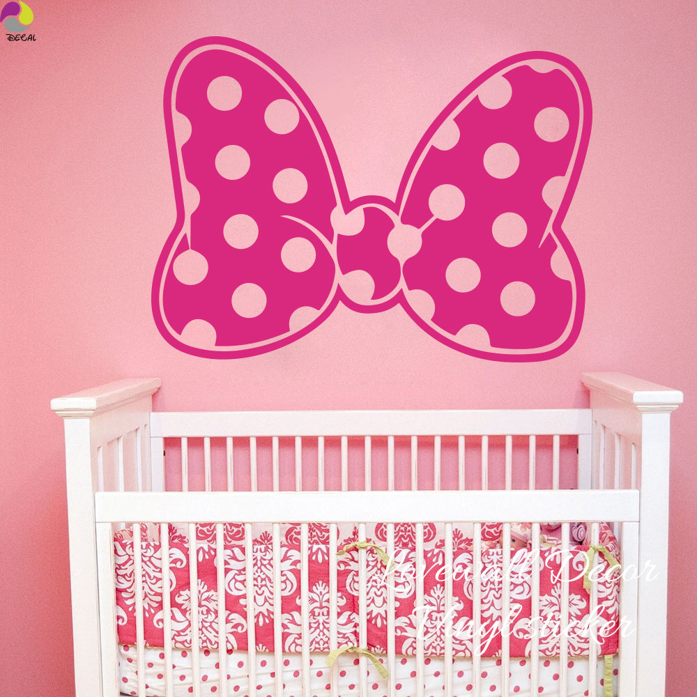 Cartoon Minnie Mouse Polka Dot Bow Wall Sticker Baby Nursery Girls Room  Cute Bow Dot Wall ...