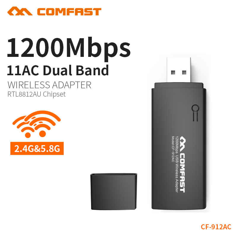 Double bande 802.11ac 1200Mbps USB 3.0 RTL8812AU sans fil-AC 1200 Wlan USB Wifi Lan Dongle adaptateur USB antenne pour ordinateur portable de bureau