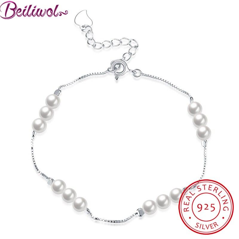 Pearl Jewelry Real 925 Sterling Silver Bracelets for Women Fine Shell Pearls Box Chain Charm Bracelet Female Wedding Gift