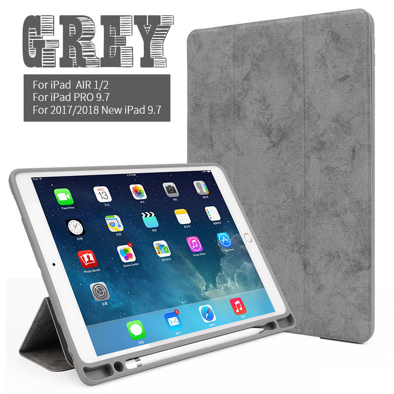 Gray 9.7 inch iPad multi color case with build in pencil slot for iPad Air 1/2, pro 9.7, 2017/2018 9.7