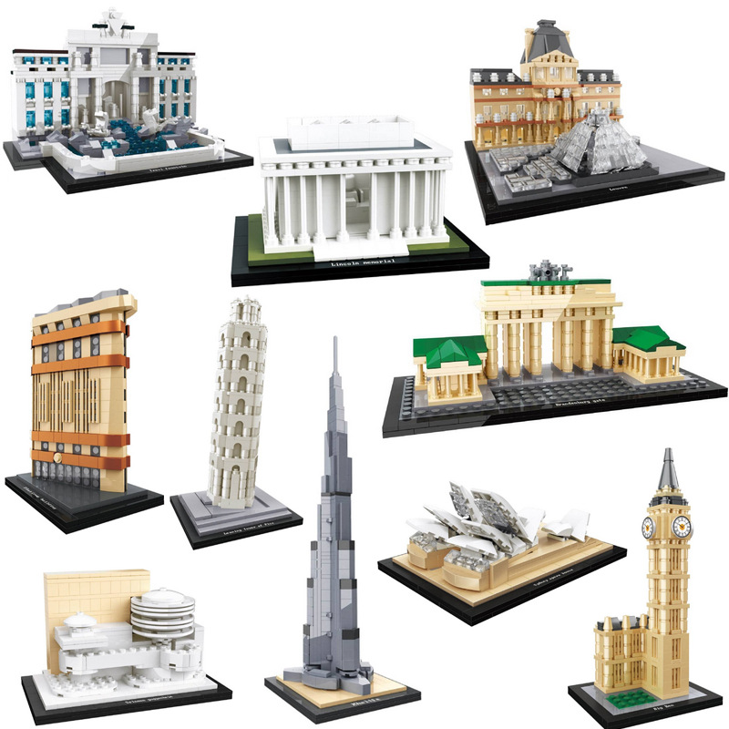 World famous Historical cultural art architecture building block Louvre Museum Burj Khalifa tower big ben model brick toy fo kid image