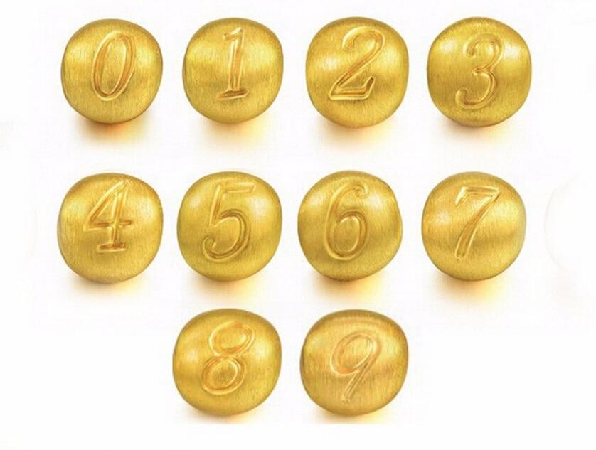 Luxury Fashion  1PCS New Design 3D 24k Yellow Gold Number Pendant 0.9gLuxury Fashion  1PCS New Design 3D 24k Yellow Gold Number Pendant 0.9g