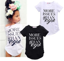2016 new fashion baby girls cotton t shirt Girls Summer Letter Print Tops Short sleeve T-shirt Clothes 2-7Y Free Shipping