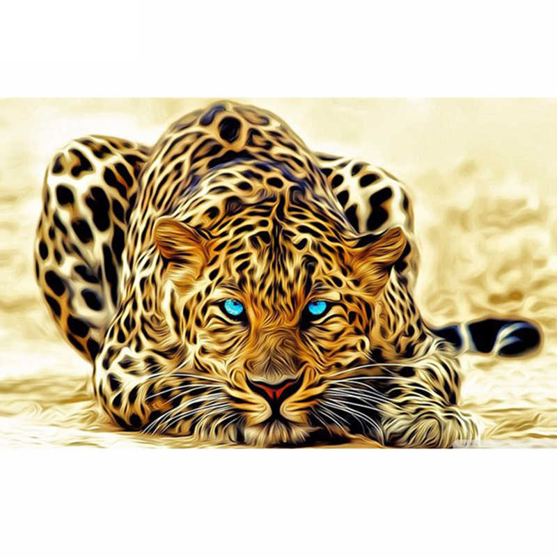 "Full Square/Round Drill 5D DIY Diamond Painting ""Animal Leopard"" 3D Embroidery Cross Stitch Mosaic Rhinestone Home Decor Gift"