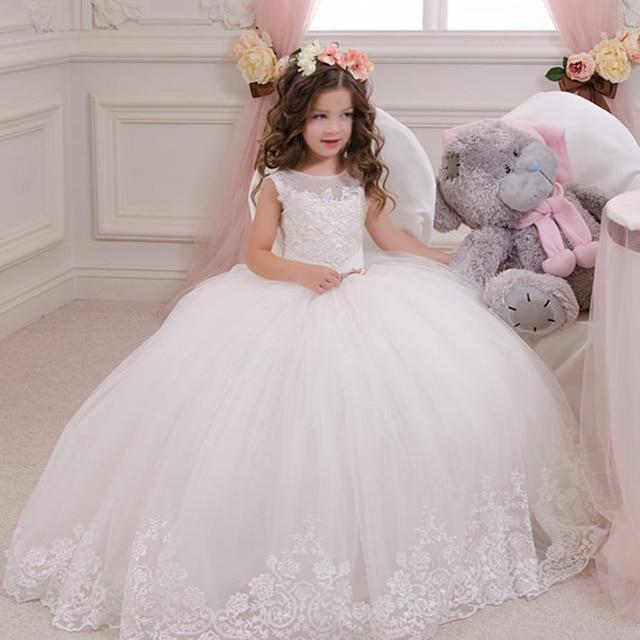 88d8375553 Gorąca sprzedaż suknia balowa dziewczyna komunii świętej sukienki wykonane  na zamówienie kwiat biały dziewczyna sukienki na