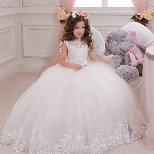 ee0bc57d4 Hot sale Ball Gown Girl holy communion dresses custom made white flower  girl dresses for wedding lace beaded pageant gown. 1 order