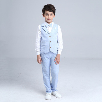 2017 Boys Blazer Suit Kids Cotton Vest+Tie+Blouse+Pants 4 pieces/set Clothes Sets Boys Formal Blazers for Weddings Party EB156 3