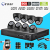 Free Shipping 8 Channel CCTV DVR NVR HVR Kit 8pcs 900tvl Security Indoor Dome Camera 8ch