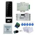 Sistema de control de acceso de Metal táctil C50 + eléctrico gota pestillo de la cerradura + 3A/12 V fuente de alimentación + exit botón + 10 unids tarjetas llave + control remoto