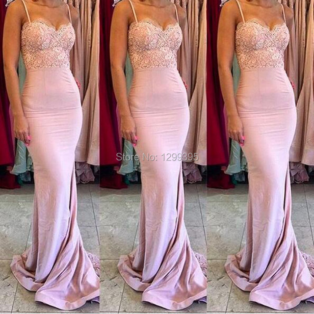 fa14dbb77862 Sexy Blush Pink Long Evening Dresses With Lace Appliques Light Pink Mermaid Prom  Dress 2016 Spaghetti Strap Robe de Soiree