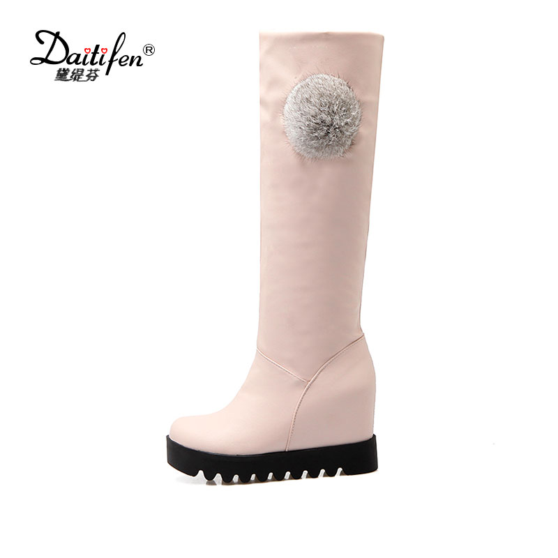 Daitifen 2018 Casual Women Long boots wedges high heels warm fur winter shoes woman comfort slip on knee high snow boots women women shoes wedges platform knee high boots winter snow booties slip on flock rubber women boots black plush warm soft shoes
