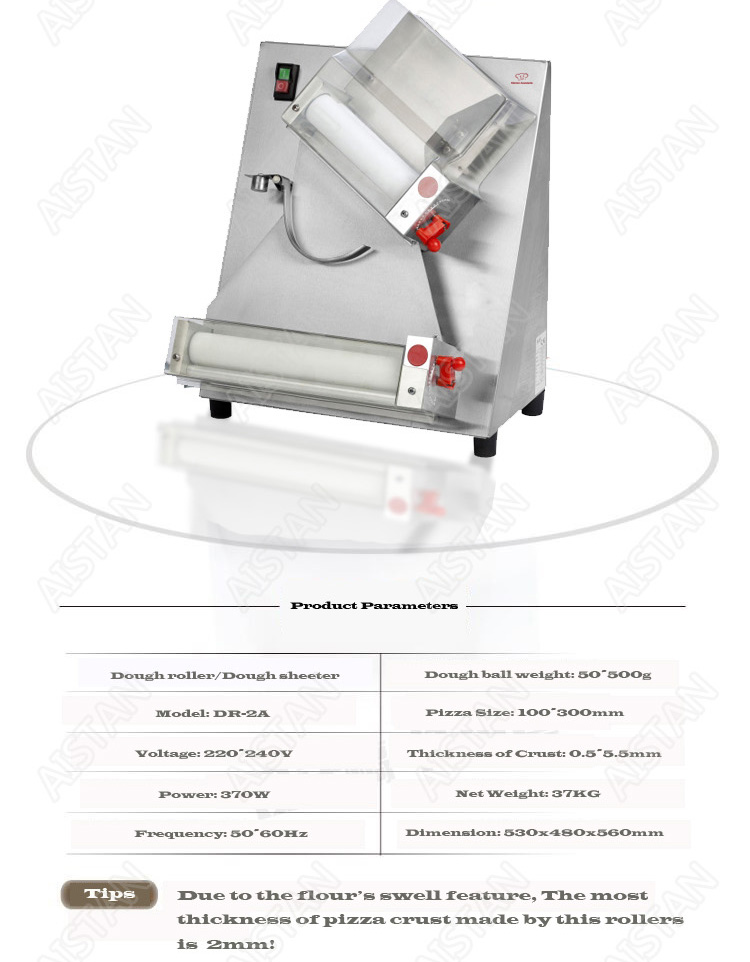 DR2A electric commercial stainless steel pizza dough roller/dough sheeter machine/dough press machine 6