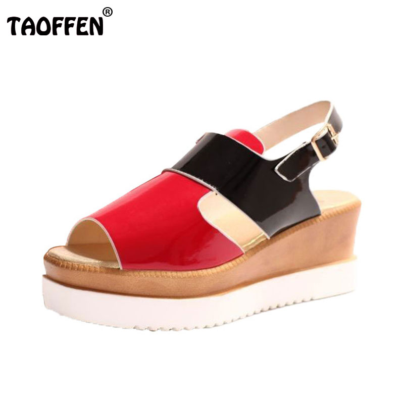 women open toe platform sandals woman mixed color wedges heels shoes brand ankle strap women sandals size 35-39 WA0582 2016 genuine leather women sandals fashion peep toe shoes woman popular mixed color wedges high heels glitter platform shoes