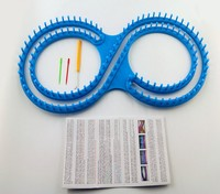 Round Loom Knitting Blue Knitter Board With Instructions And 3 Projects Sewing Handwork Kit Craft Tool