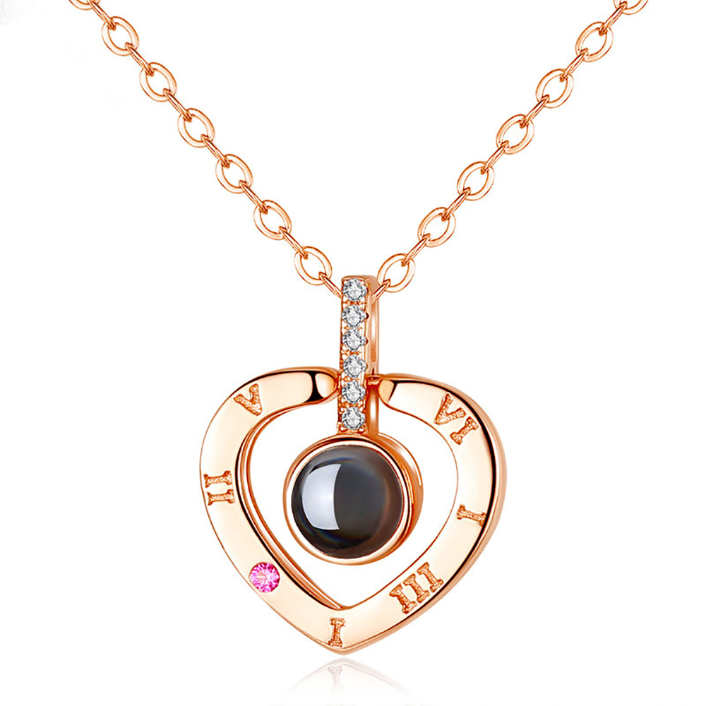 Rose Gold Silver 100 languages I Love You Projection Pendant Necklaces Heart Memory Wedding Necklace Female Choker Collares in Pendant Necklaces from Jewelry Accessories