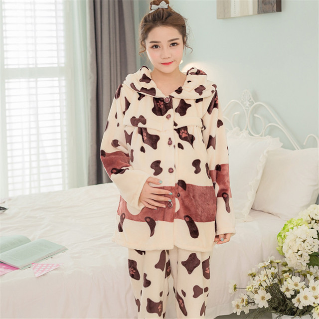 Winter thick Maternity pajamas Nursing sleep wear nightgown lounge Maternidade Pregnancy Gravidas sets Nursing Breast Clothing