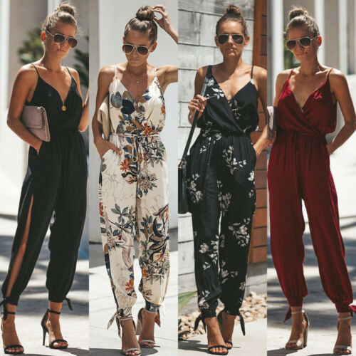 Boho Women Strapy Jumpsuits V Neck Printed Jumpsuits Playsuit  Romper Holiday Beach Pencil Pants Long Trousers