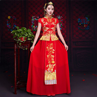 New Red traditional chinese wedding dress Qipao National Costume Womens Overseas Chinese Style Bride Embroidery Cheongsam S XXX
