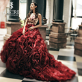 JUSERE Couture Red Luxury Cascading Ruffle Gown Illusion Embroidery Bodice Bateau Neckline with Bead Bow Knot Evening Dress 2016