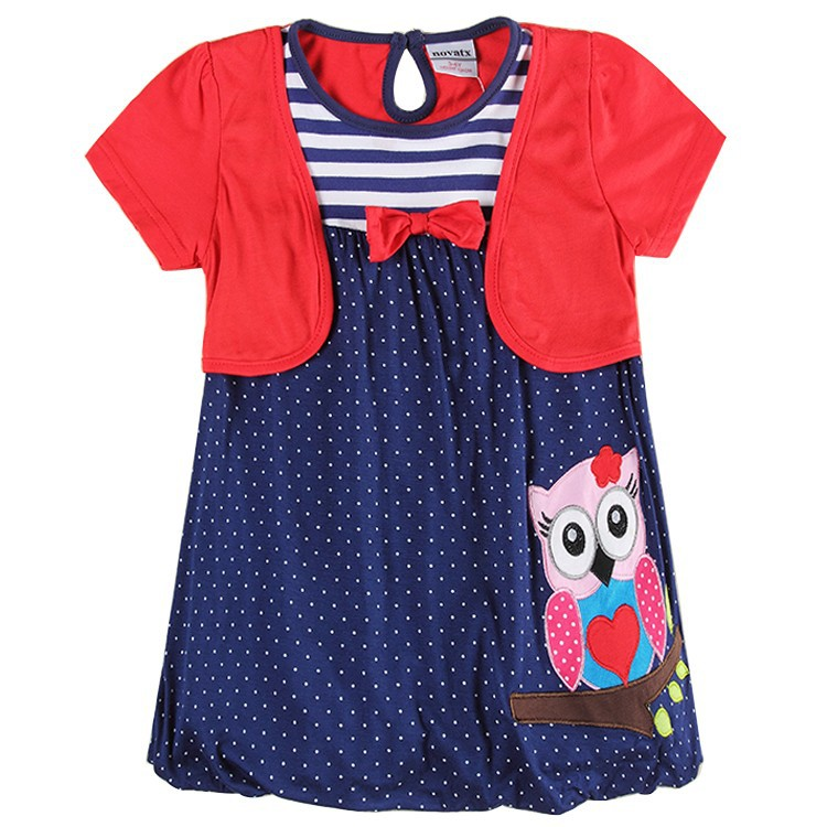 baby dress Baby Girls' Polka Dots Dress Nova Children Girl Clothes Summer Style Owl Embroidery Girls' Short Sleeves Dress H6240 светильник avantgarde цвет черный