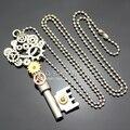 Ornamentado Chave Esqueleto de Prata do Relógio Mão Relógio Engrenagem Cog Steampunk Cadeia Colar de Jóias 2017 Novo