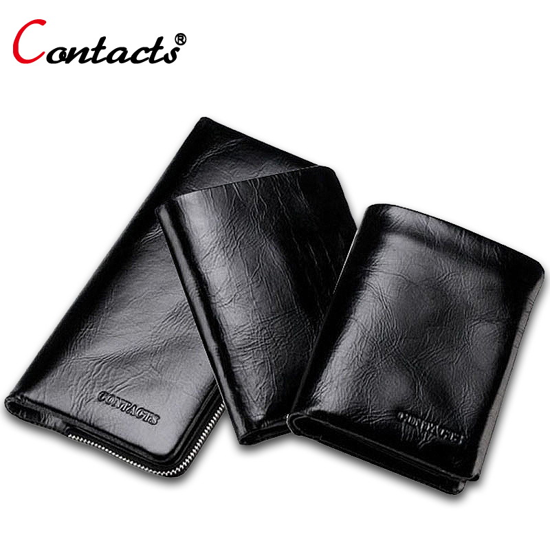 CONTACT'S Genuine Leather Men Wallets Card Holder Famous Band Phone Clutch Bag Purse Long Money Bag Dollar Price Black Wallet