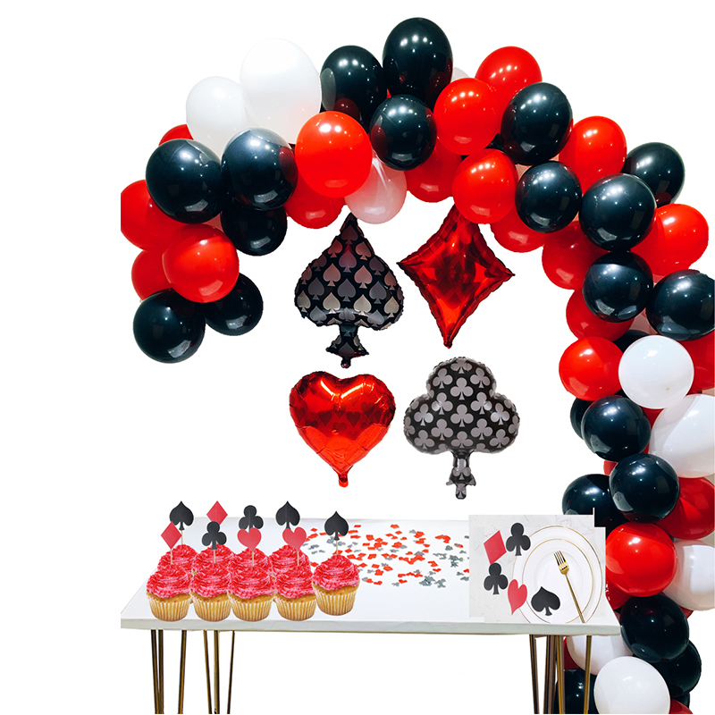 Casino Party Decorations Red/Black/White/Mylar Balloons for Las Vegas Theme Birthday Night