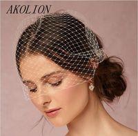 AKOLION Classical Short Wedding Veil With Comb Bridal Hair Accessories Full Birdcage Veil Blusher For Wedding
