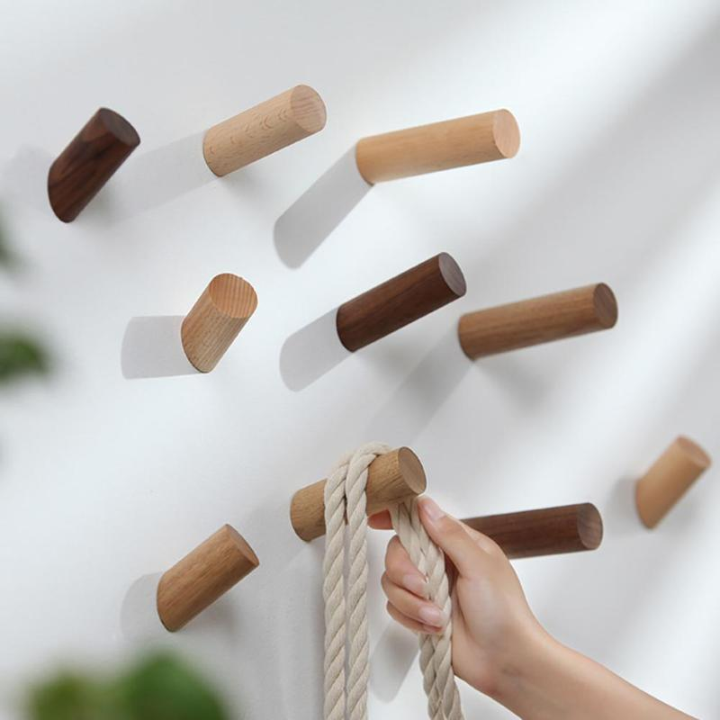 Natural Wood Wall Hook Wall Hanger Solid Wood Clothes Storage Rack Home Decor Hooks For Hanging Key Decorative Hooks