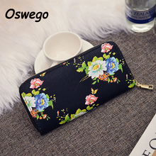 2016 Fashion PU Leather Floral Oils Painting Style Women Long Wallet Ladies Zipper Purse Female Clutch Money Pouch billetera