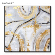 Cheap Price High Quality Hand-painted Beauty Abstract Gold Foil Oil Painting on Wonder for Wall Decoration