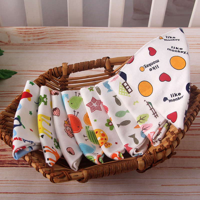 Baby bibs High quality triangle double layers cotton baberos Cartoon Character Animal Print baby bandana bibs dribble bibs(China)