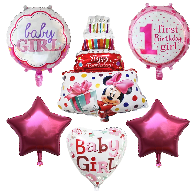 BINGTIAN 6pcs Boy Girl Mickey Mini Aluminum Balloon First Birthday Balloon Birthday Party Decoration Balloon