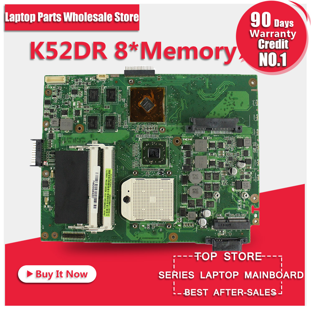 for ASUS K52DR laptop motherboard A52DE K52DE A52DR K52D Notebook mainboard HD5470 with 1gb 8pcs memory video card 100% tested for asus k52jt k52dr laptop motherboard 60 n1wmb1100 rev 2 3 8 video memory non integrated graphics card 100