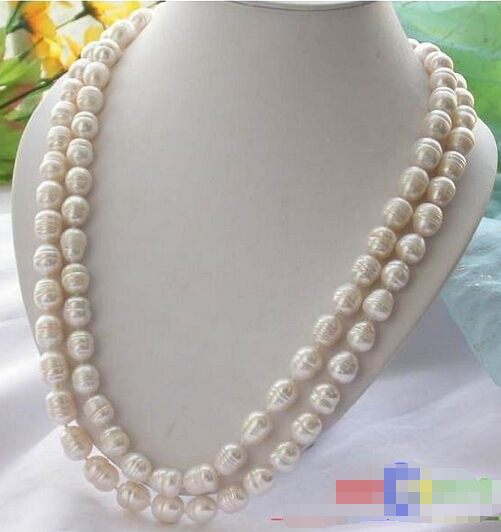 HOT## Wholesale FREE SHIPPING p1732 50 12*13MM white RICE FRESHWATER CULTURED PEARL NECKLACE