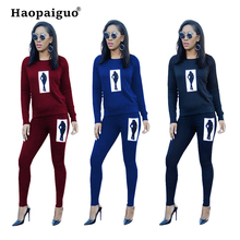 2019 Spring Ladies Black Print Tracksuit Women Casual Outfits Two Piece Set Pants Suits Plus Size Clothing Sets S-XL