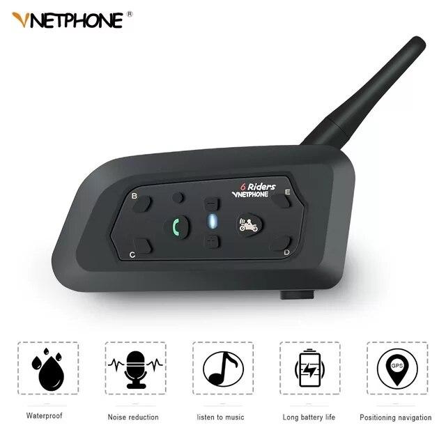 VNETPHONE Interphone casque Bluetooth casque moto Communication Intercomunicador 6 coureurs Interphone haut-parleur MP3 GPS