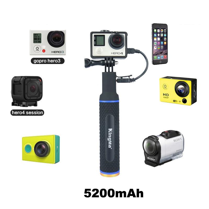 Power Bank 5200mAh Handheld Selfie Stick Hand Grip Monopod Mount For GoPro Hero7 6 5 SJCAM SJ4000 EKEN for Xiaomi Sony Huawei