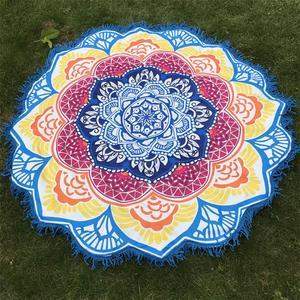Image 5 - Women Chic Tassel Indian Mandala Tapestry Lotus Printed Bohemian Beach Mat Yoga Mat Sunblock Round Bikini Cover Up Blanket