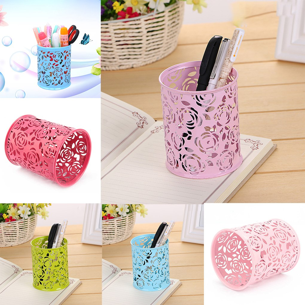 New Arrival Hollow Rose Flower Pattern Brush Pot Holder Organizer Iron Round Practical Pen Pencil Cup Stationery