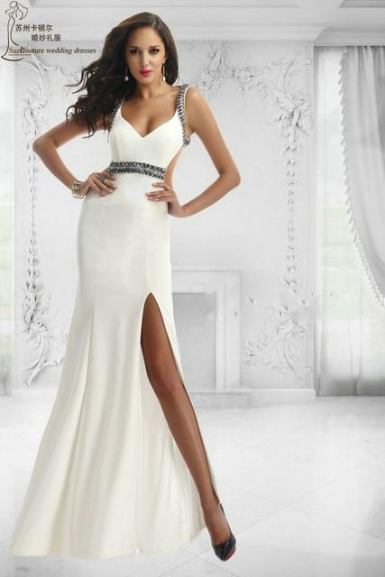 Long mermaid prom dress 2015 MP1008 elegant white prom dresses ...