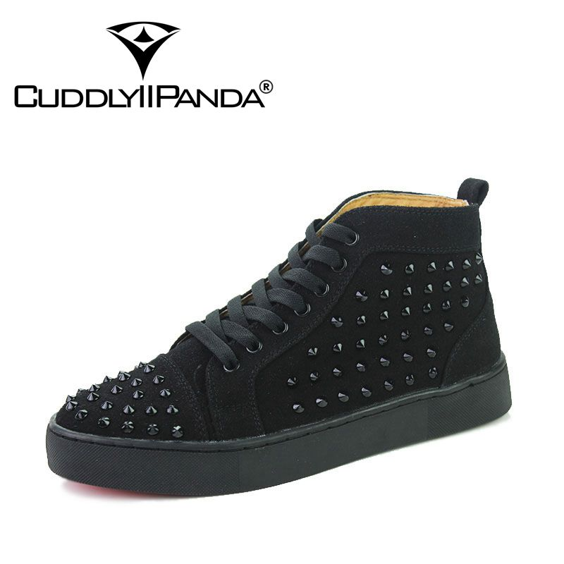 CUDDLYIIPANDA New Arrival Suede Leather Casual Shoes Fashion Lace-Up Solid Red Ankle Boot High Top Rivet Shoes Men Sneakers men suede genuine leather boots men vintage ankle boot shoes lace up casual spring autumn mens shoes 2017 new fashion