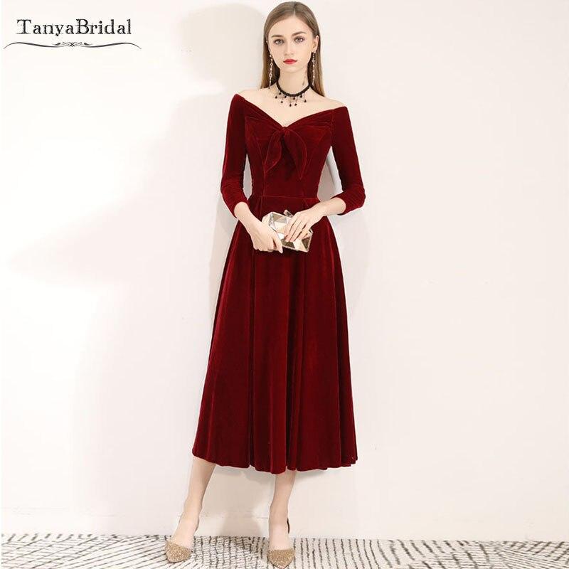 Robe de demoiselle d'honneur en velours noir/rouge manches trois quarts robes de demoiselle d'honneur longueur sarcelle robe de soirée de mariage DB019