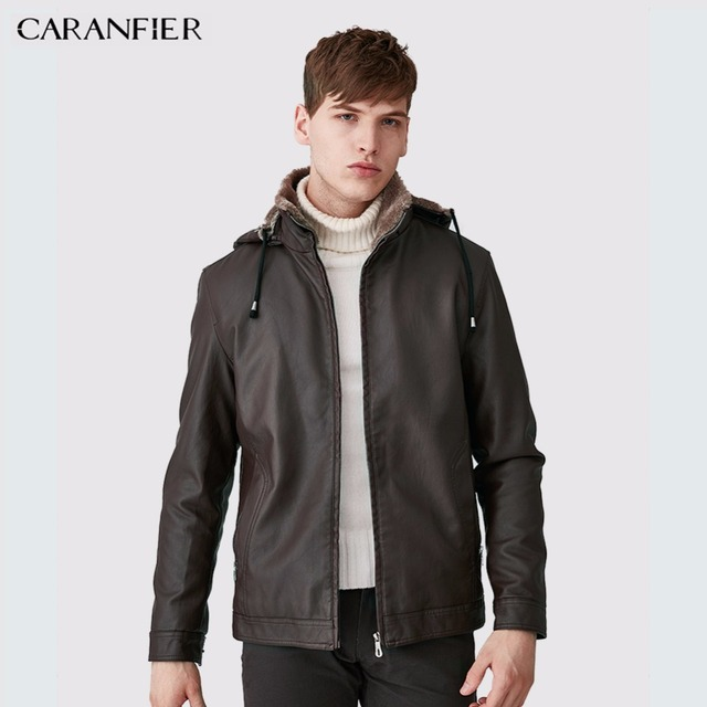 CARANFIER Mens Leather Jackets Winter Warm Coats Plus Thick Outerwear Biker Motorcycle Male Classic Hooded Faux Jacket Windproof