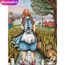 MomoArt Diamond Painting Girl 5D Full Square Rhinestone Embroidery Portrait Mosaic Cartoon Home Decor