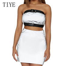 TIYE Silver Reflective Sexy Off Shoulder Two Pieces Summer Dress Elegant Women Backless Strapless Mini Bodycon Party Club